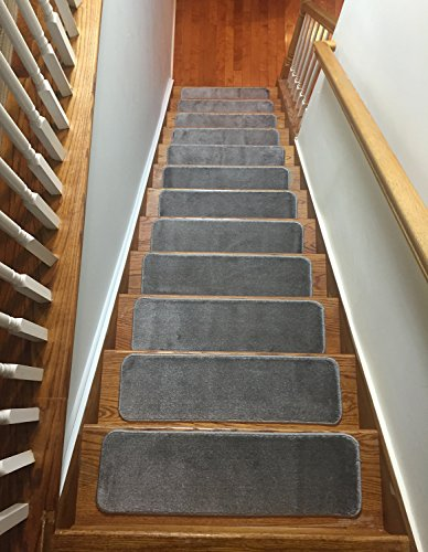 Comfy Stair Tread Treads Indoor Skid Slip Resistant Carpet Stair Tread Treads Machine Washable 8.5 inch x 30 inch (Set of 13, Grey)
