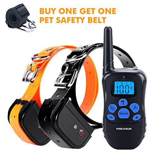 HISEASUN Dog Training Collar with Remote Rechargeable with Beep, Vibration and Shock Electronic Collar, 1000ft Range for 2 Dogs