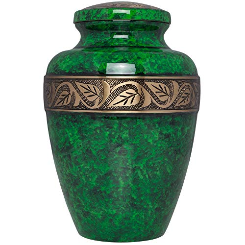Liliane Memorials Emerald Green Funeral Cremation Urn Esmeralda Model in Brass for Human Ashes; Suitable for Cemetery Burial; Large Size Fits Remains of Adults up to 200 lbs, Large/200 -