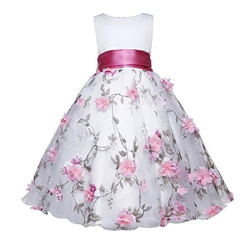 Amberry Little Big Girl's Embroidery Flower-Applique Sash Dress (2, Pink) - Affordable Flower Girl Dresses