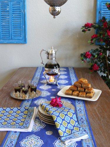Superbe Casablanca Blues ~ Moroccan Theme Style Quatrefoil Print Napkins