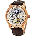 Stuhrling Original Men's 'Legacy' Automatic Stainless Steel and Leather Dress Watch, Color:Brown (Model: 371.03)