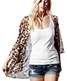 Preppy Doll Made in USA Women's Animal Leopard Cheetah Print Chiffon Open Front Light Weight Kimono Cardigan Dolman Top (3XLarge)