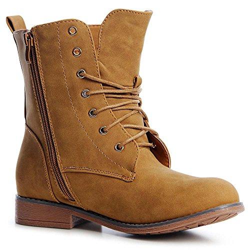 topschuhe24 1237 Damen Worker Boots Stiefeletten Schnürer Camel