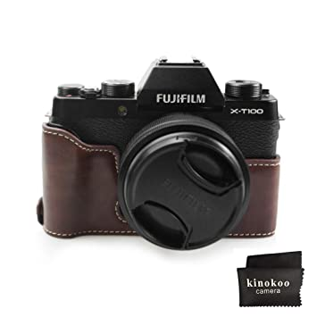 Estuche Fuji X-T100, Funda Inferior de kinokoo para cámara FUJIFILM X-T100, asa de Mano de Media Cubierta (café)