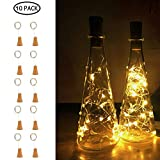 Aolvo 20 LED Bottle String Lights Mini Copper Starry Wine Bottle Fairy Lights, 1M/3.6FT Battery Operated Starry Lights for Bedroom, Parties, Wedding, Indoor Outdoor Decoration (10Pcs/Warm White)
