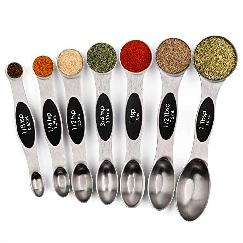 Magnetic Measuring Spoons Set of 7 Stainless Steel Metal Double Sided Teaspoon Tablespoon for Dry and Liquid Ingredients