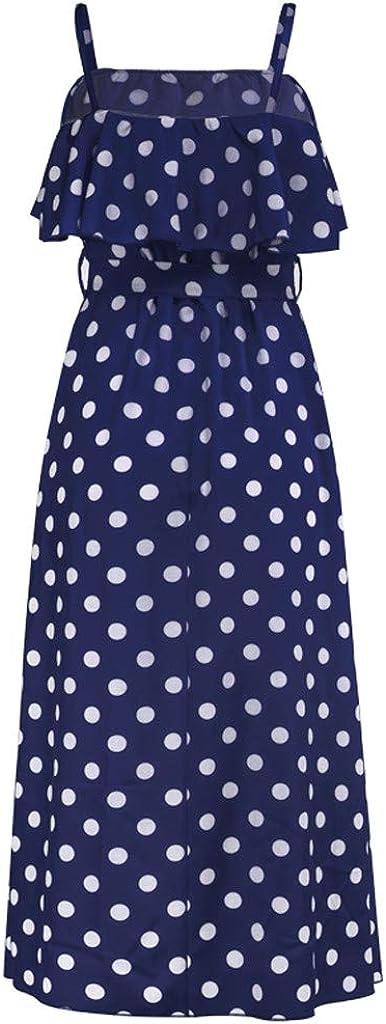 Dress for Women Summer Ruffle Belt Boho Floral Spaghetti Strap Lace up Dot Print Dress Swing Midi Dress