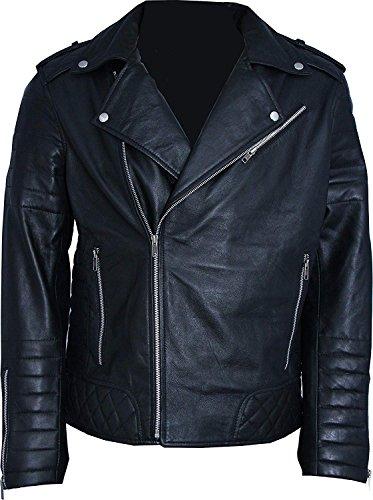 Rock Star Elvis Presley Motorbiker Leather Jacket 2XS to 3XL (lar-Jacket CHEST-48) Black
