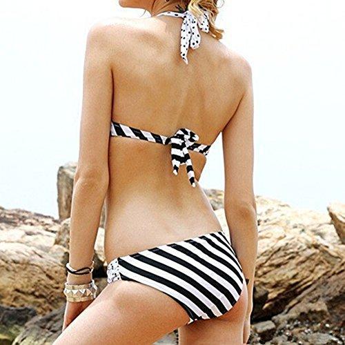 Scothen Las señoras elegantes blanco y negro del bikini halter de los sistemas push-up del traje de baño de dos piezas de la manera de la playa empuja hacia arriba Establece Bohemia Tankini Halter Black