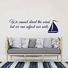 "BATTOO Inspirational Quote Wall Decal- We can't direct the wind, but we can adjust our sails Wall Saying Vinyl Wall Art Sticker(navy blue, 10""h x34""w)"