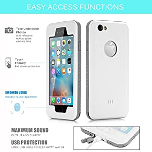 "Floating Waterproof Case for iphone 6 plus 6s plus with 2 Float Straps and Fisheye lens and Kickstand GUYO Swimming Cover with Touch ID Clear Sound and Touch Screen with IP68 (White for i6P/6SP- 5.5"")"