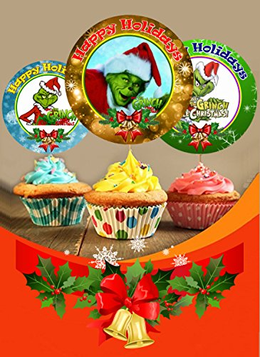 12 The Grinch Holiday Inspired Party Picks, Cupcake Picks, Cupcake Toppers #1