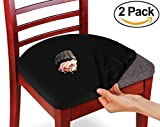 #9: KLEEGER Chair Covers Protective & Stretchable: Fits Round And Square Chairs. For Kids, Pets, Set Of 2 (Black)