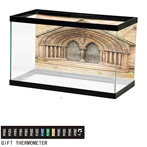wwwhsl Aquarium Background,Rustic,Medieval Middle Age Cathedral Door Exit with Gothic Ornate Features Great Britain Theme,Cream Fish Tank Backdrop 30