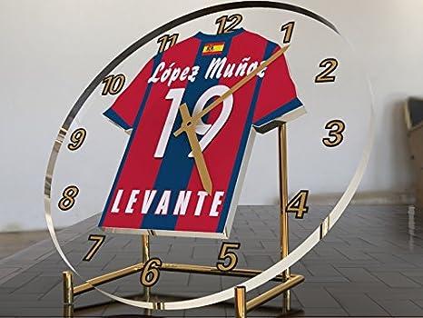Reloj de sobremesa, diseño de camiseta de fútbol de La Liga española, color Levante UD: Amazon.es: Oficina y papelería