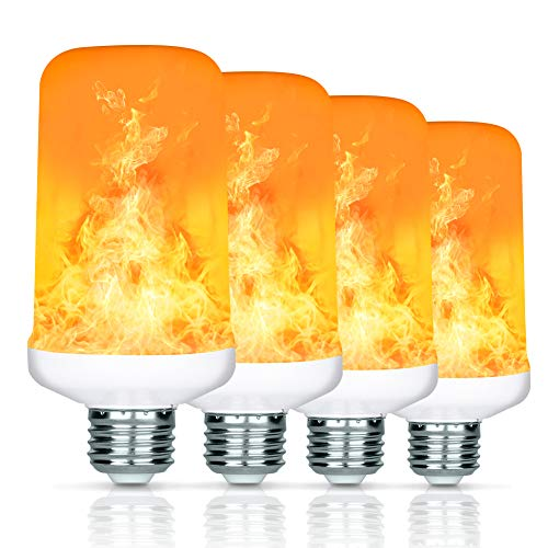 Flame Bulb, Elindio 7W LED Flame Effect Light Bulbs-E26, 4 Modes, 2835 LED Beads Simulated Flickering Decorative Light for Christmas Decoration/Halloween/ Hotel/Bars/ Home/Restaurants (4 Pack) ()
