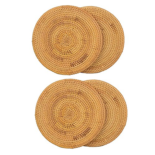 "Vine Handwoven Coffee Drink Coaster Heat Resistant Pad Tea Cup Insulation Mat Durable Round Placemats Modern Vintage Home Decoration (7.08"")"