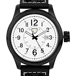 Picard & Cie Stellihorn Mens Watch - Black Leather Strap, Black Case, White Dial