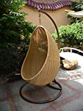 Rattan Swing Outdoor Patio Wicker Swing Lounge Chair Hanging Egg Chair Hammock 34X22X78 Inch
