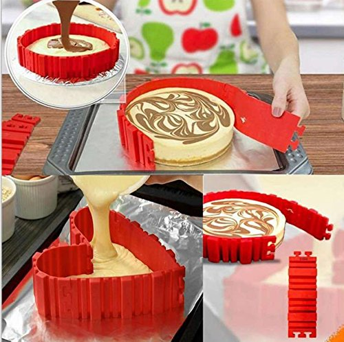 Silicone Cake Mold Magic Bake Snake-DIY Baking Mould Tool Design Your Pastry Dessert with Any Pan Shape, 4 PCS/lot Nonstick Flexible Reusable Easy to Use and Wash, Perfect Gift Idea for Your Love Kootips-1-3033