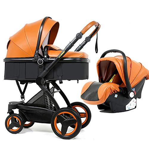 PU Luxury car seat Stroller Baby Stroller 3 in 1 Baby pram 2 in 1 Baby Safe Chair Foldable Stroller for Dolls Baby Accessories ({Type=String, Value=Brown 3 in 1})