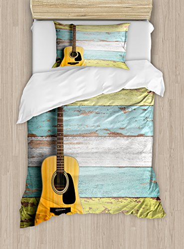 Ambesonne Music Duvet Cover Set Twin Size, Acoustic Guitar on Colorful Painted Aged Wooden Planks Rustic Country Design Print, Decorative 2 Piece Bedding Set with 1 Pillow Sham, Multicolor