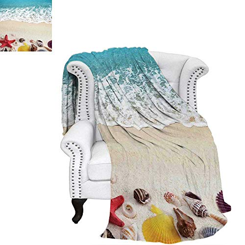WilliamsDecor Beach Throw Blanket Sea Shells on Sandy Coast Tropical Island Shore Summertime Travel Vacation Picture Warm Microfiber All Season Blanket for Bed or Couch 70