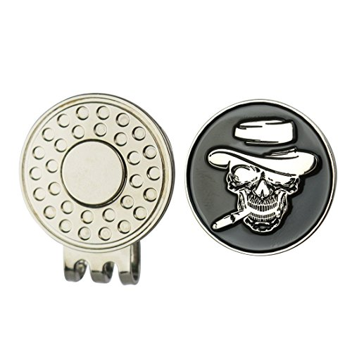 Ball Marker Holder - Golters Enamel Skull Ball Marker with Magnetic Golf Hat Clip