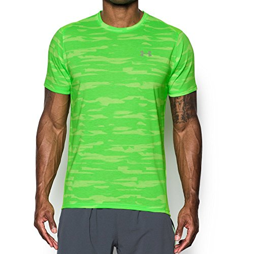Under Armour Men's Threadborne Run Mesh Shorts Sleeve,Quirky Lime /Reflective, Small by Under Armour (Image #1)