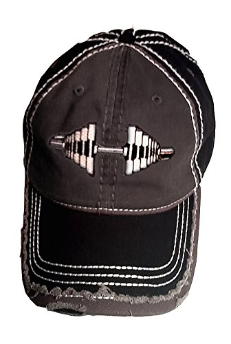 Distressed Black Grey Barbell Cap product image