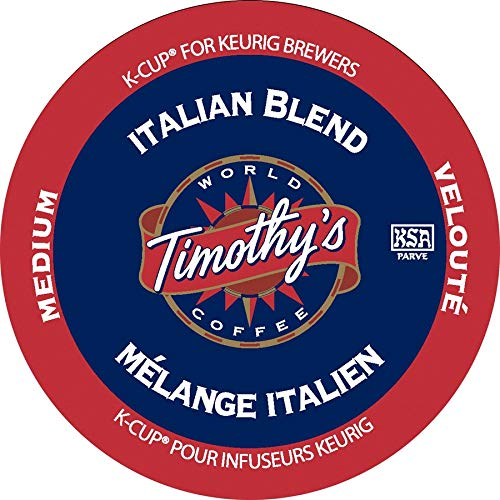 Timothy's World Coffee, Italian Blend, K-Cups for Keurig Brewers, 24-Count Box (Pack of 2) (Timothys Coffee K Cups)