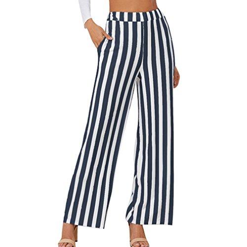 Moda Blu A S Larghi Donna All'aperto Pantaloni Righe Casual Junkai Scuro Affari xl qOtwTUP
