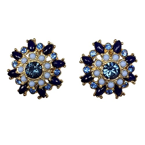 Multi Color Rhinestone & Resin Dot Flower Gold Tone Boutique Style Post Stud Earrings (Navy & Light Blue)