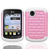 lg 305c phone case - LG 306G CASE, Phonelicious For LG 306G 305C LG 306G CASE, Studded Diamond 2 in 1 Hybrid Dual Layer Spotted Bling Rhinestone Spot Dazzle Hard Protector Phone Skin Case Cover Tuff Robust Dynamic, Clear Guard Screen Protector, and Phonelicious Stylus Pen (White / B.Pink Studded)