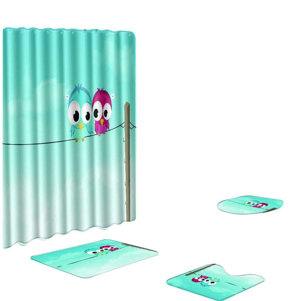Lion Shower Curtain Shower Mat Set 4 Toilet Cover Bathroom Base Carpet + Cover Toilet Cover + Shower Mat Mildew-Proof Shower Curtain