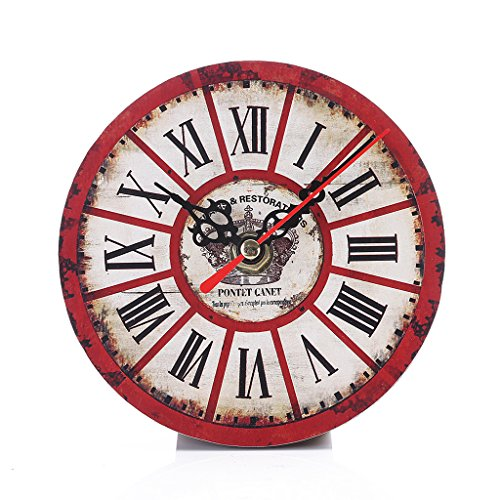 Riashop Vintage Rustic Wooden Wall Clock Antique Shabby Chic Retro Home Kitchen Room Decor Pattern Optional (4)