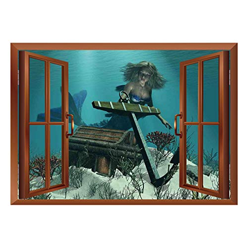 (SCOCICI Peel and Stick Fabric Illusion 3D Wall Decal Photo Sticker/Mermaid,Mermaid in The Ocean Sea Discovering Pirates Treasure Chest Mythical Art Print,Azure Brown Cream/Wall Sticker)