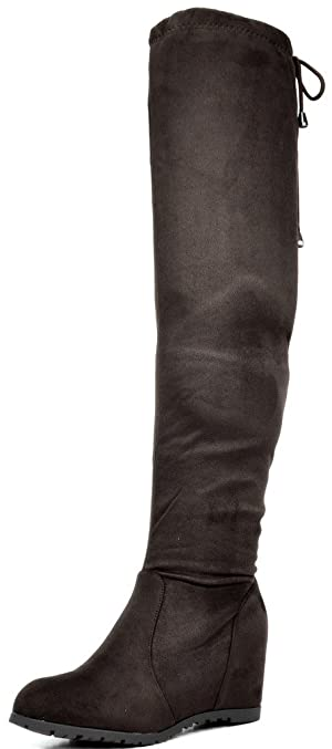 DREAM PAIRS LEGGY Women's Stretchy Faux Suede Fashion Multi-Wear Over The Knee Low Hidden Wedge Heel Thigh High Boots Brown Size 9