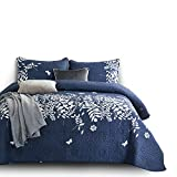 quilts in blue - Wake In Cloud - 3pcs Navy Blue Quilt Set, Gray Grey Floral Flowers Tree Leaves Modern Pattern Printed, Soft Microfiber Bedspread Coverlet Bedding (Queen Size)