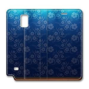 Brain114 Fashion Style Case Design Flip Folio PU Leather Cover Standup Cover Case with Blue Flowers 5 Pattern Skin for Samsung Galaxy Note 4