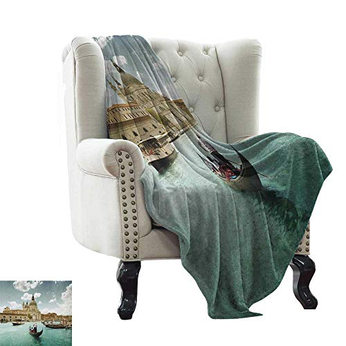 LsWOW Chunky Knit Blanket Venice,Basilica Santa Maria Della Salute by The Grand Canal Aerial View Image, Beige Turquoise Bluegrey Throw Lightweight Cozy Plush Microfiber Solid Blanket 60