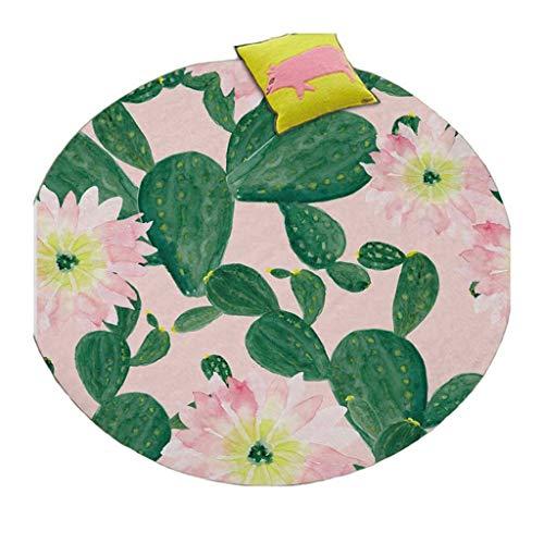 (Round Carpets for Living Room Cactus Printing Coral Velvet Floor Mats Bedroom Decor Anti-Slip Carpet Baby Crawl Area Rug, Diameter 4.9ft)