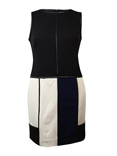 Lauren Ralph Lauren Women's Faux Leather Trim Colorblock Dress