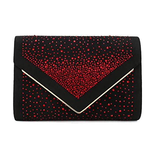 Charming Tailor Envelope Purse Formal Faux Suede Clutch Rhinestone Evening Bag for Women Party Handbag