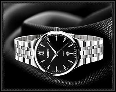 Men's Unique Analog Quartz Waterproof Business Casual Stainless Steel Band Dress Wrist Roman Numeral Watch, Classic Calendar Date Window - Black