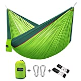 G4Free Double Camping Hammock - Portable High Strength Hammock - Lightweight Blend Color Nylon Fabric Parachute for Outdoor. Hammock Straps & Steel Carabiners include(Dark Green/Bright Green)