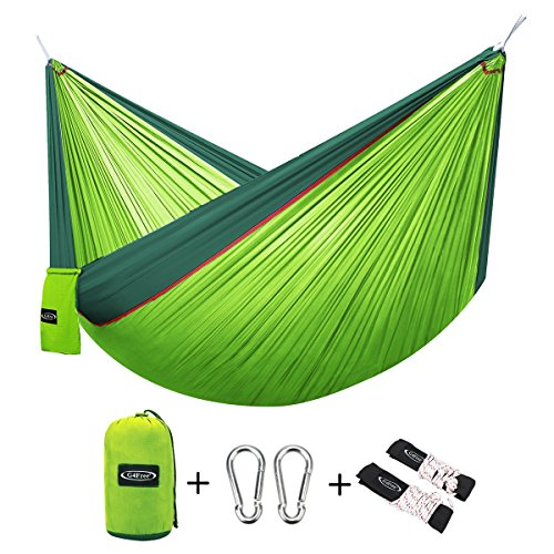 Price comparison product image G4Free Double Camping Hammock - Portable High Strength Hammock - Lightweight Blend Color Nylon Fabric Parachute for Outdoor. Hammock Straps & Steel Carabiners include(Dark Green/Bright Green)