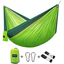"G4Free Double Camping Hammock (2 person)- Lightweight Portable Parachute Nylon 210T Camping Hammocks for Backpacking,Backyard, 660lbs(118""x 75"")-With Carabiners & Hammock Straps"