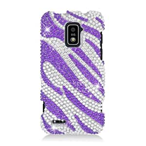 Purple Zebra Bling Gem Crystal Cover Case for ZTE Warp LTE N9510 4G Boost 46M5